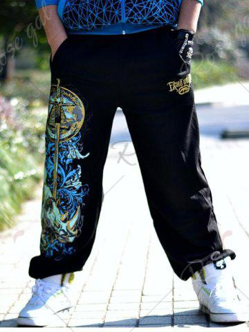 Hot Drawstring Loose Fit Graphic Print Embroidered Jopper Pants - S BLACK Mobile