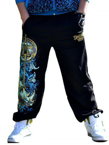 Shop Drawstring Loose Fit Graphic Print Embroidered Jopper Pants - S BLACK Mobile