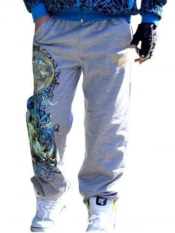 Trendy Drawstring Loose Fit Graphic Print Embroidered Jopper Pants - 3XL GRAY Mobile