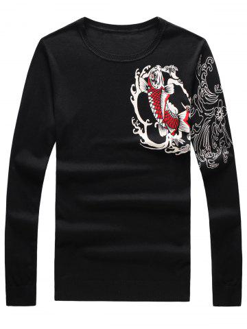 Trendy Long Sleeve 3D Fish and Flower Print Sweater