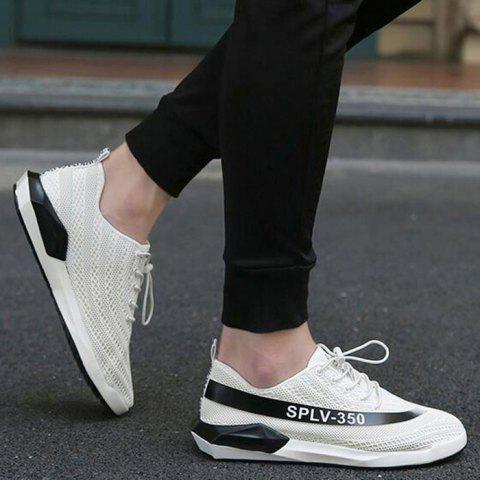 Unique Low-Top Mesh Color Block Sneakers - 43 WHITE Mobile