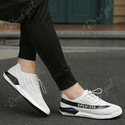 Cheap Low-Top Mesh Color Block Sneakers - 43 WHITE Mobile