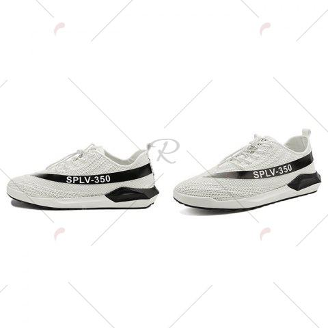 Latest Low-Top Mesh Color Block Sneakers - 43 WHITE Mobile