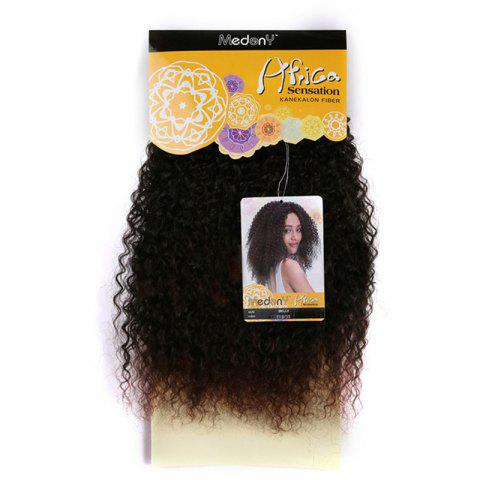 Medium Fluffy Afro Kinky Curly Synthetic Hair Weft Noir