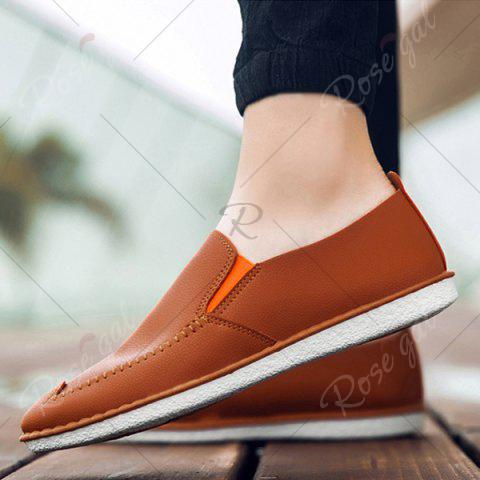 Trendy Faux Leather Stitch Slip On Shoes - 43 ORANGE YELLOW Mobile