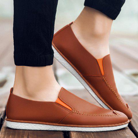 Outfit Faux Leather Stitch Slip On Shoes - 43 ORANGE YELLOW Mobile