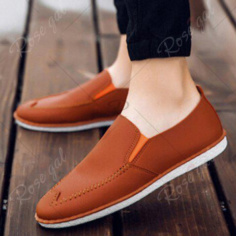 Online Faux Leather Stitch Slip On Shoes - 43 ORANGE YELLOW Mobile
