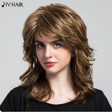 Trendy Siv Hair Side Bang Highlight Layered Long Wavy Human Hair Wig