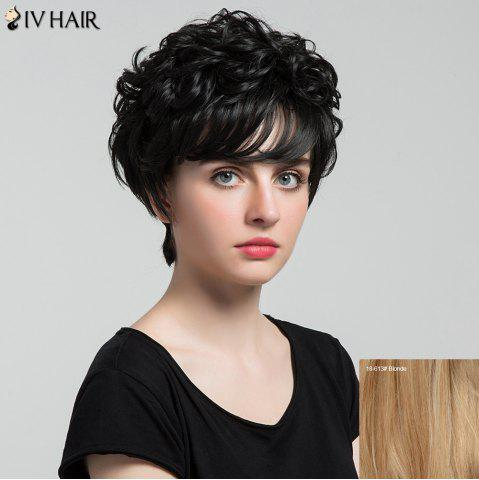 Outfits Siv Hair Short Oblique Bang Shaggy Curly Layered Human Hair Wig - BLONDE  Mobile