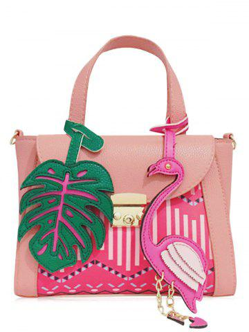 Online Monstera Leaf and Flamingo PU Leather Handbag PINK
