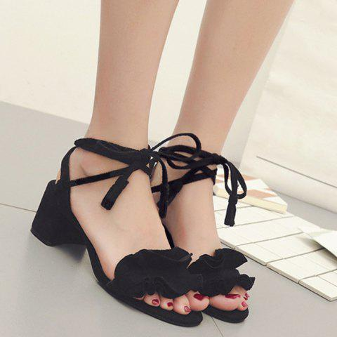 Outfit Ruffle Chunky Heel Sandals BLACK 38