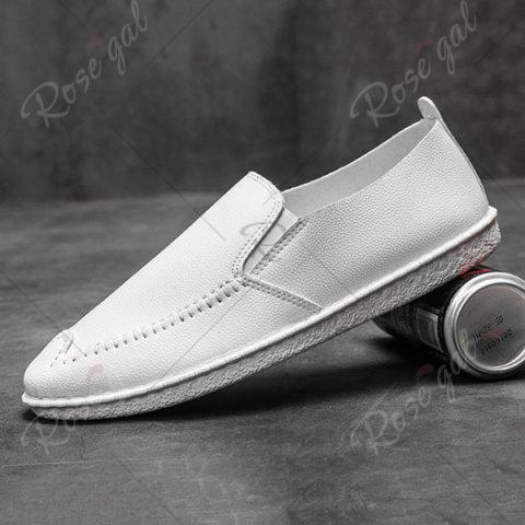 Sale Faux Leather Stitch Slip On Shoes - 43 WHITE Mobile