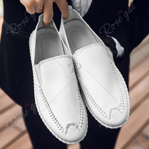 Best Faux Leather Stitch Slip On Shoes - 43 WHITE Mobile