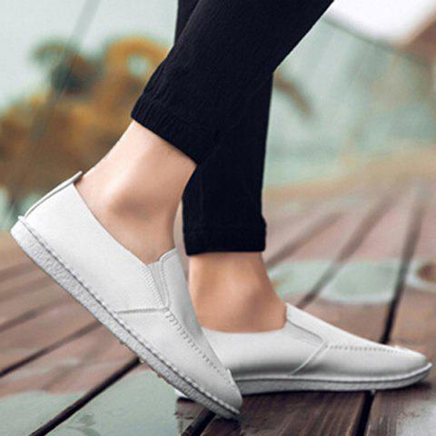 Faux Leather Stitch Slip On Shoes Blanc 43