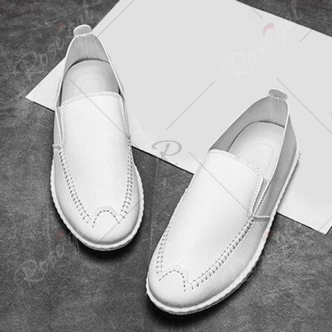 Cheap Faux Leather Stitch Slip On Shoes - 43 WHITE Mobile