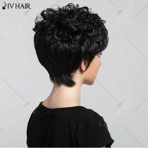 Outfits Siv Hair Short Oblique Bang Shaggy Curly Layered Human Hair Wig - JET BLACK #01  Mobile