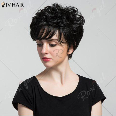Discount Siv Hair Short Oblique Bang Shaggy Curly Layered Human Hair Wig - JET BLACK #01  Mobile