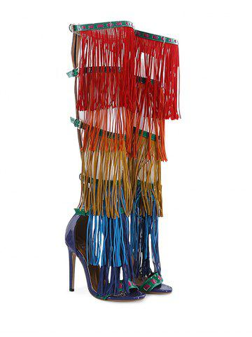 Hot Fringe Belt Buckle Zipper Sandals