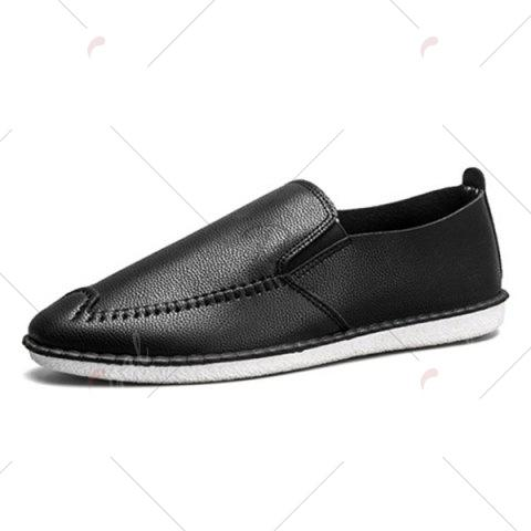 Latest Faux Leather Stitch Slip On Shoes - 40 BLACK Mobile