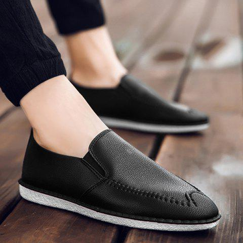 Faux Leather Stitch Slip On Shoes Noir 40