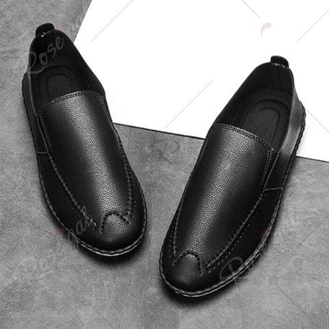Outfits Faux Leather Stitch Slip On Shoes - 40 BLACK Mobile