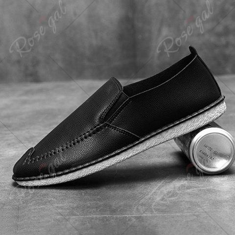 New Faux Leather Stitch Slip On Shoes - 40 BLACK Mobile