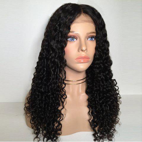 New Middle Part Long Deep Wave Curly Lace Front Synthetic Wig - BLACK  Mobile