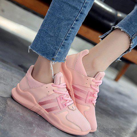 Fancy Faux Leather Insert Breathable Athletic Shoes - 37 PINK Mobile