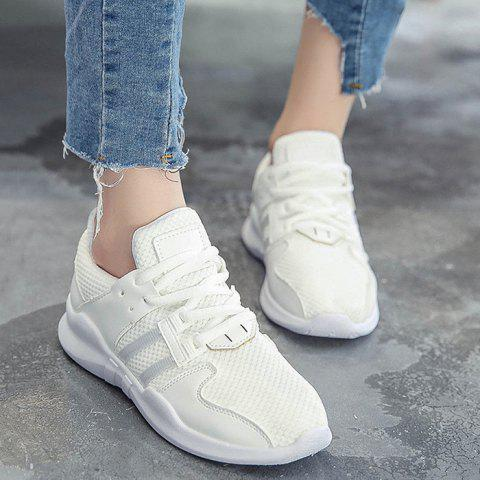 Fashion Faux Leather Insert Breathable Athletic Shoes - 39 WHITE Mobile