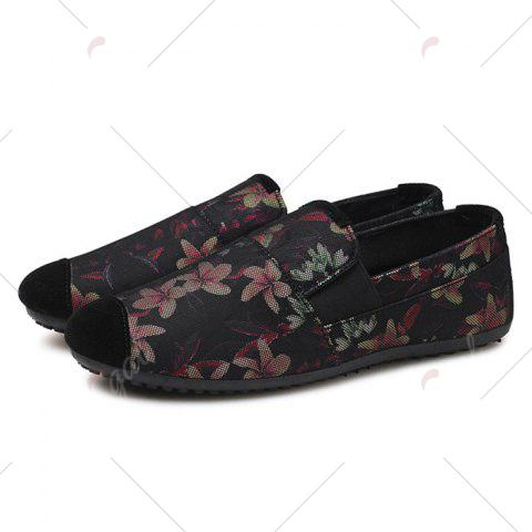 New Floral Print Cap Toe Slip On Sneakers - 43 RED Mobile