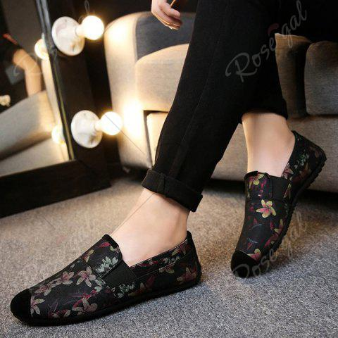 Affordable Floral Print Cap Toe Slip On Sneakers - 43 RED Mobile
