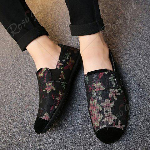 Latest Floral Print Cap Toe Slip On Sneakers - 43 RED Mobile