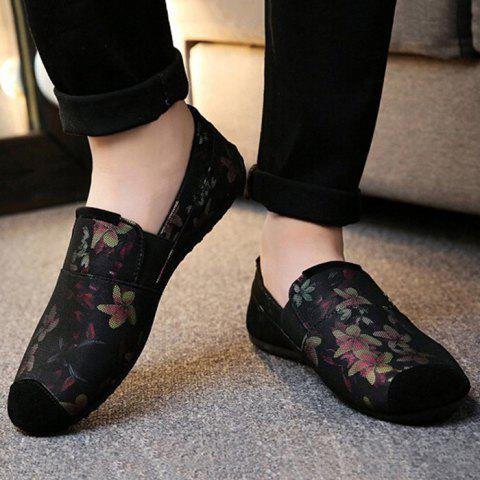 Fashion Floral Print Cap Toe Slip On Sneakers - 43 RED Mobile