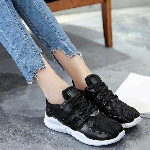 Sale Faux Leather Insert Breathable Athletic Shoes - 37 BLACK Mobile
