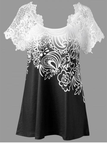 Trendy Lace Panel Raglan Sleeve Floral Plus Size Top - BLACK 2XL Mobile