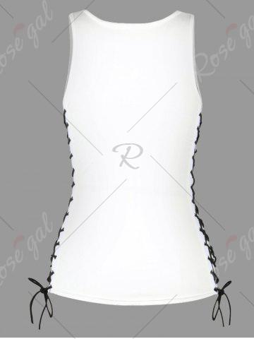 Online U Neck Feather Print Lace Up Tank Top - M WHITE Mobile
