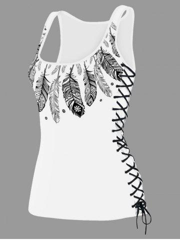 Cheap U Neck Feather Print Lace Up Tank Top - M WHITE Mobile