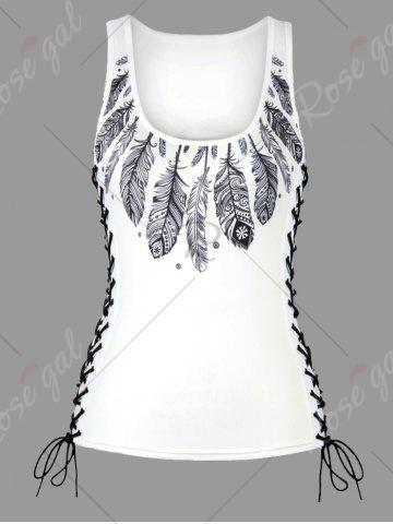 Sale U Neck Feather Print Lace Up Tank Top - M WHITE Mobile