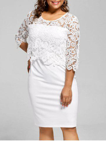 Affordable Lace Panel Knee Length Plus Size Bodycon Dress - 2XL WHITE Mobile