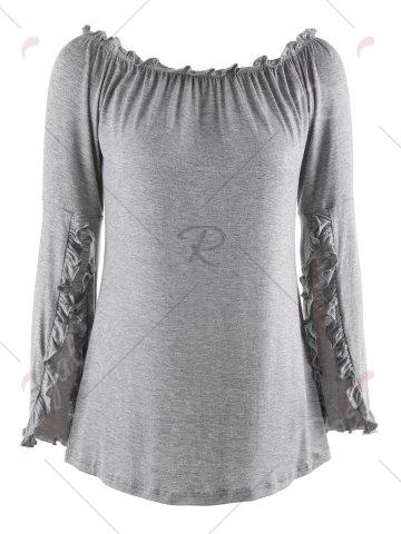 Latest Bell Sleeve Off The Shoulder T-Shirt - M GRAY Mobile