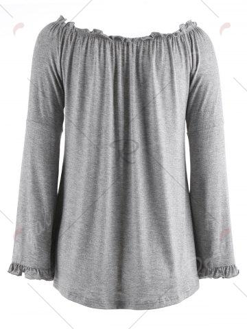 Outfit Bell Sleeve Off The Shoulder T-Shirt - M GRAY Mobile