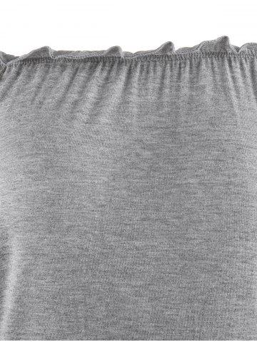 Latest Bell Sleeve Off The Shoulder T-Shirt - XL GRAY Mobile