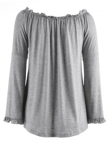 Chic Bell Sleeve Off The Shoulder T-Shirt - XL GRAY Mobile