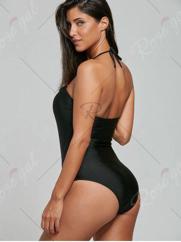 Fashion Halter Crossed Lace-Up Swimsuit - S BLACK Mobile