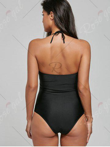 Shops Halter Crossed Lace-Up Swimsuit - S BLACK Mobile