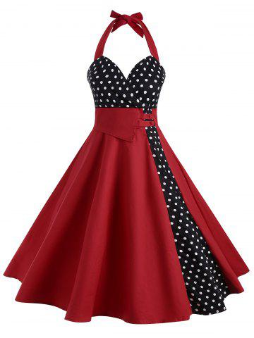 Halter Polka Dot 50s Dress - Red - S