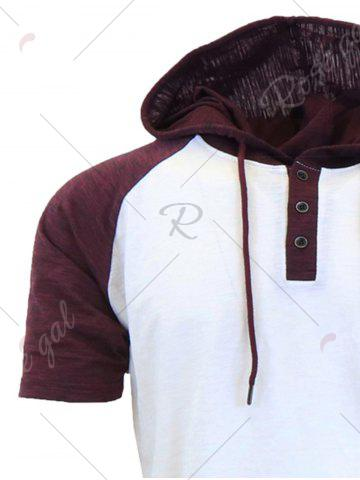 Cheap Panel Design Hooded Drawstring Raglan Sleeve T-shirt - 2XL WHITE Mobile