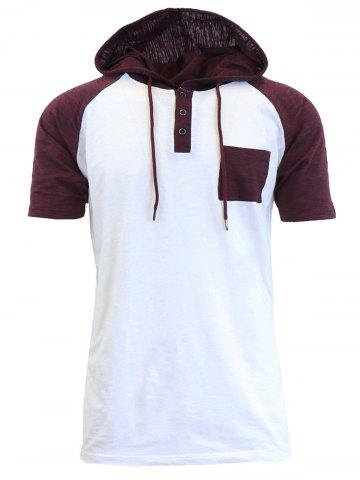 Fashion Panel Design Hooded Drawstring Raglan Sleeve T-shirt - M WHITE Mobile