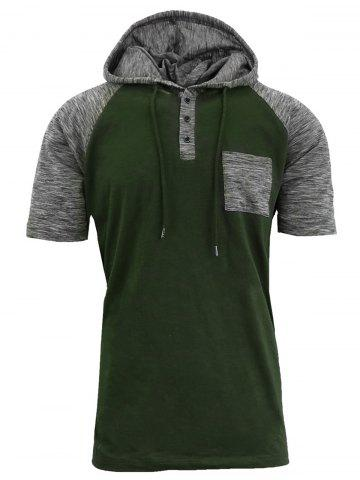 Affordable Panel Design Hooded Drawstring Raglan Sleeve T-shirt ARMY GREEN L