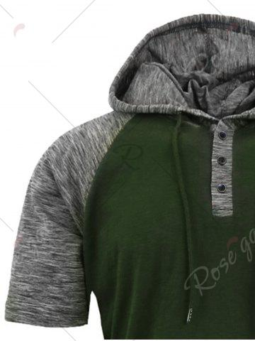 Chic Panel Design Hooded Drawstring Raglan Sleeve T-shirt - S ARMY GREEN Mobile